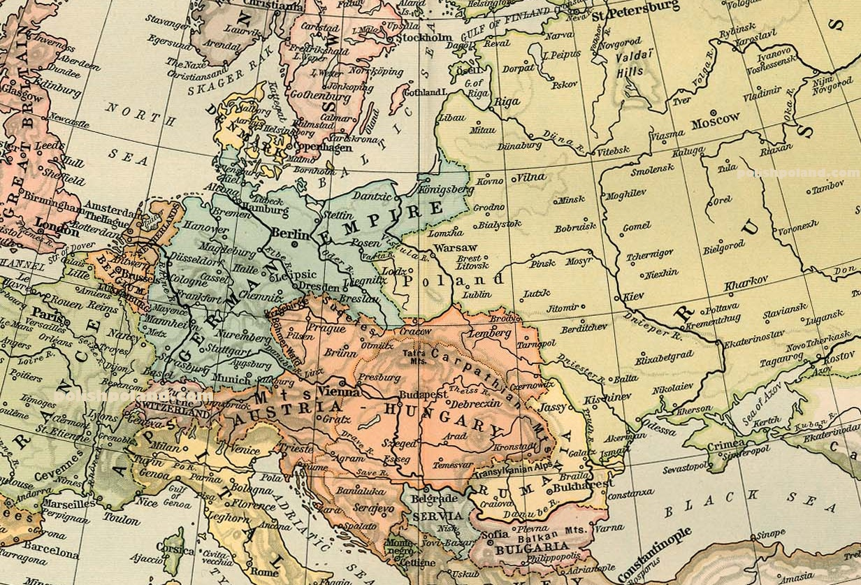 Map Of Germany Poland And Russia In 1911 Polish Poland