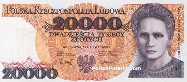 Polish Zoty Marie Curie