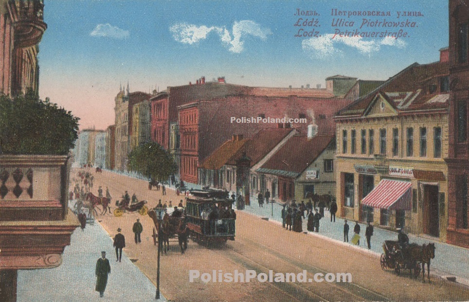 Lodz Poland  City new picture : ... of a tram and people in Piotrkowska street in Lodz, Poland, c.1910