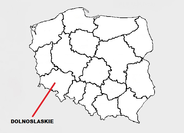 A map showing Dolnoslaskie on a map of Poland.
