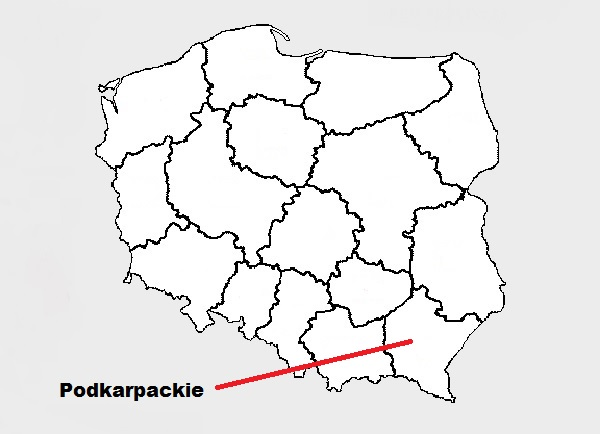 podkarpackie on map of Poland