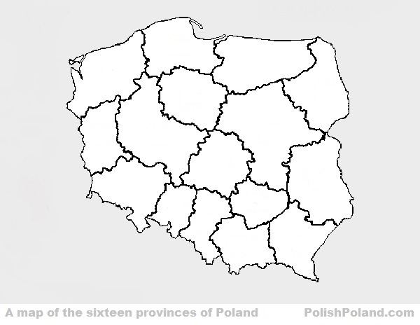 MAP OF PROVINCES OF pOLAND
