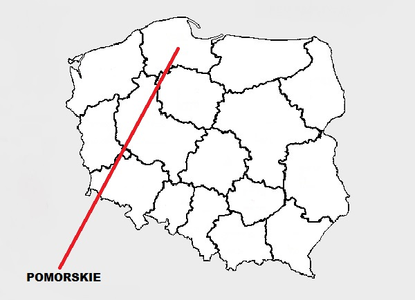 Pomorskie on map of Poland