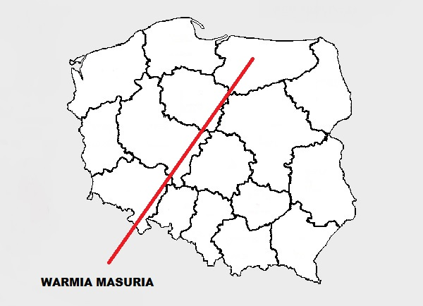 Warmia Masuria on map of Poland