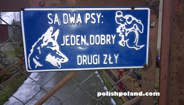 dog warning sign poland