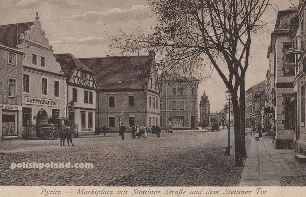 Market Square and Stettiner strasse in Pyrzyce (Pyritz), c.1918.